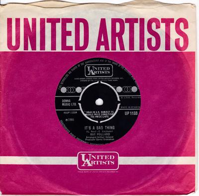 Ray Pollard - It's A Sad Thing / All The Things You Are  - United Artists UP 1133