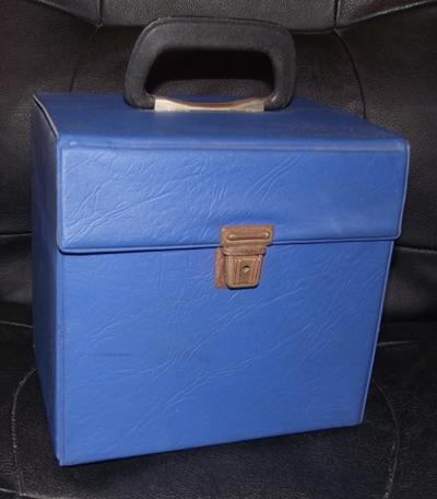 50 Count Record Box - Blue Plastic/ Uk Wood Inners Platic Covered
