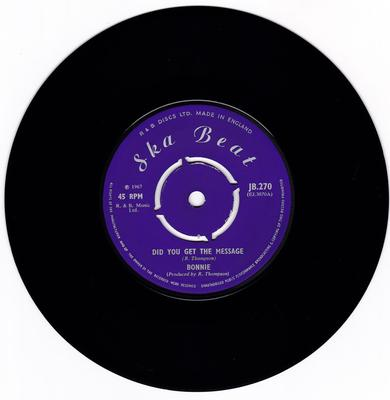 Bonnie - Did You Get The Message / A Man Called Dan - Ska Beat JB 270