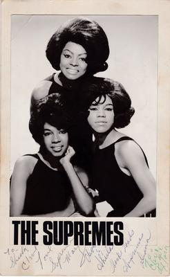 "Supremes - Fully autographed 7"" x 12"" Motown promo pic + promo only 45  dedicated to the Motown Appreciation Society"