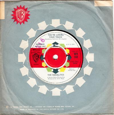 Socialites - You're Losing Your Touch / Jive Jimmy - Warner Bros WB 148 DJ
