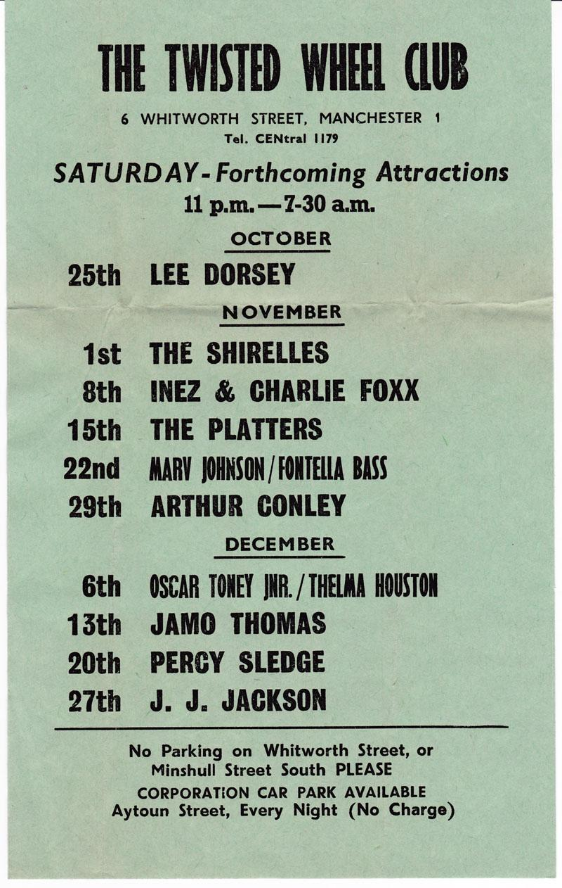 Twisted Wheel - 1968 Forthcoming Attractions 3 Month Event Handbill - Twisted Wheel 1969