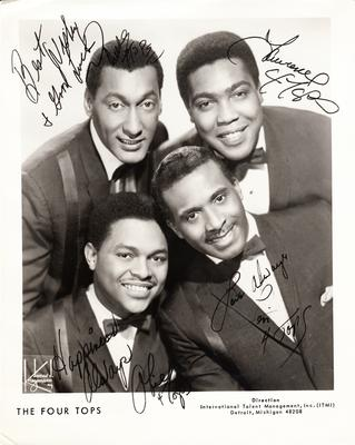 """Four Tops - Fully signed 8"""" by 10"""" Agents Publicity Photograph / ITMI Detroit, Michigan"""