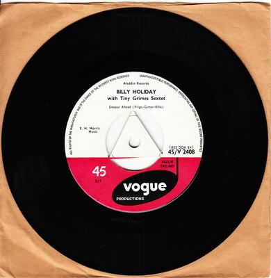 Billy Holiday with Tiny Grimes Sextet - Detour Ahead / Blue, Turning Grey Over You - Vogue Productions 45/V 2408