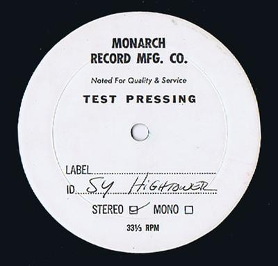 Sy Hightower - The Carmen Recordings / Untited, Unissued, 6 track test press only album - Monarch Recording JP 2002