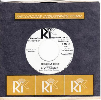Roosevelt Grier - In My Tenement / Down So Long - R.I.C. S 112 DJ