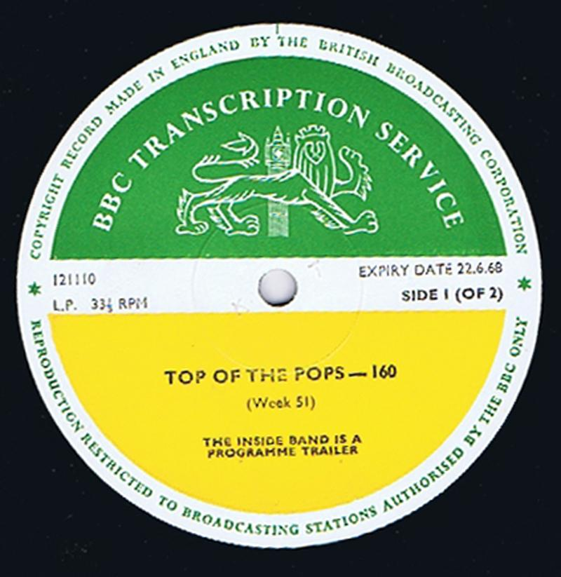 Various Artists - Top Of The Pops 22.06.1968  / inc: The Gun, The Who, Lulu etc.  - BBC Transcription Service 160