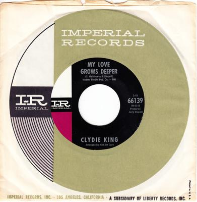 Clydie King - Missin' My Baby / My Love Grows Deeper - Imperial 66139