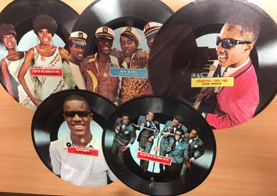 Various Artists - 5 x Motown Paper Picture Discs / Temptations, Stevie Wonder, Supremes etc.- Motown Picture Disc