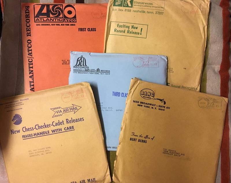 Record Mailers - 5  x VINTAGE 60's COMPANY MAILERS / King, Bell, Atlantic, Bang, Chess - Record Mailers 5 x company