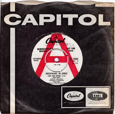 Patrice Holloway - Love And Desire / Ecstasy - UK Capitol CL 15484 DJ