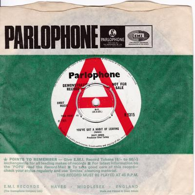 Davy Jones - You've Got A Habit Of Leaving / Baby Loves That Way - Parlophone 5315 DJ