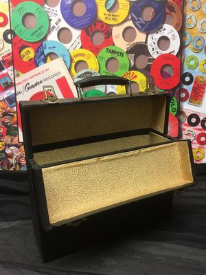 Image for Wood Textured  Vinyl Top Opening Case/ 20 To 25 Vintage Album Case