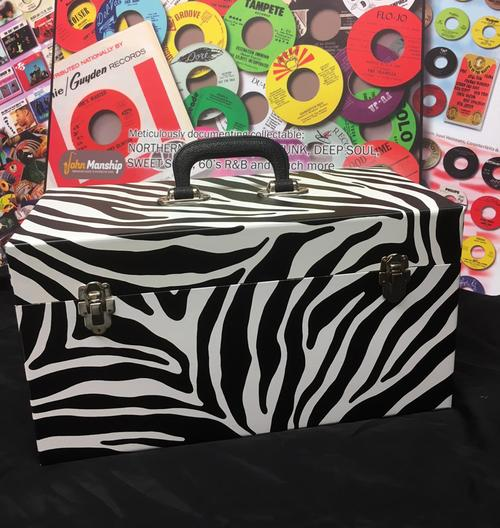 Double Lane Zebra Print Vinyl Finish/ New Replica Record Case