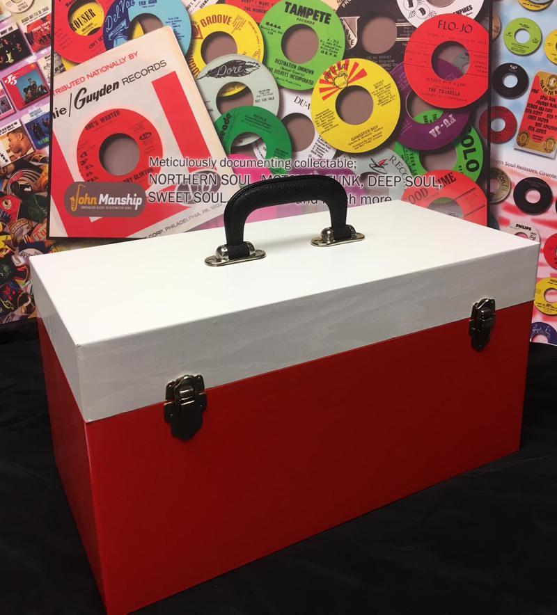 Double Lane Red & White  Vinyl Finish/ New Replica Record Case