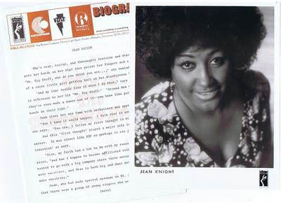 "Jean Knight - Stax / Volt Biography and Artist 8"" by 10"" Photograph - Stax"