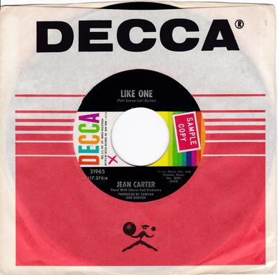 Jean Carter - Like One / That Boy Ain't No Good - Decca 31965