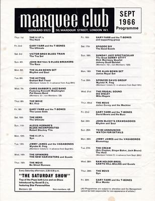 Marquee Club - September 1966 Programme - Broadwater Press