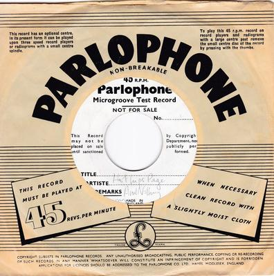 """Hot Lips Page - Ain't Nothing Wrong With My Baby - Parlophone 7"""" Microgroove Test Press"""