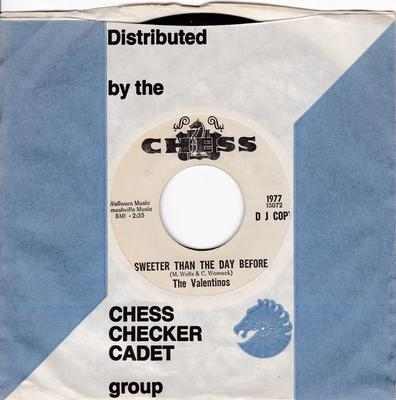 Valentinos - Sweeter Than The Day Before / Let's Get Together - Chess 1977 DJ