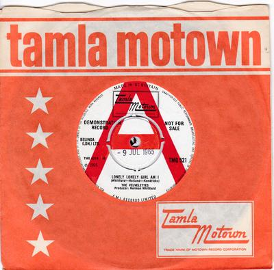Velvelettes - Loney Lonely Girl Am I / I'm The Exception To The Rule - Tamla Motown TMG 521 DJ