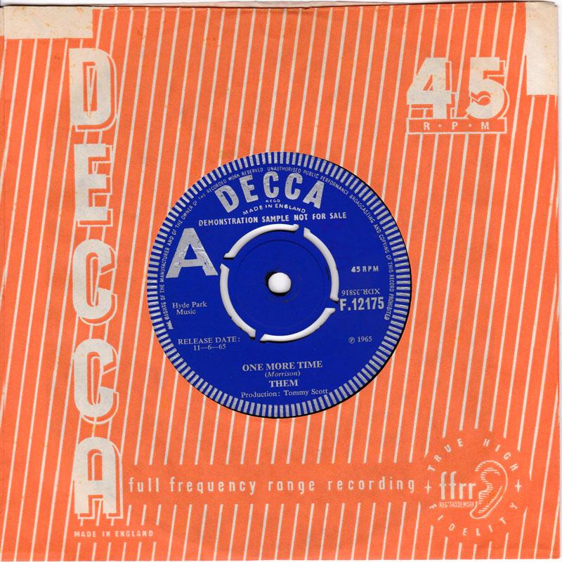 Them - One More Time / How Long Baby - Decca F 12175 DJ