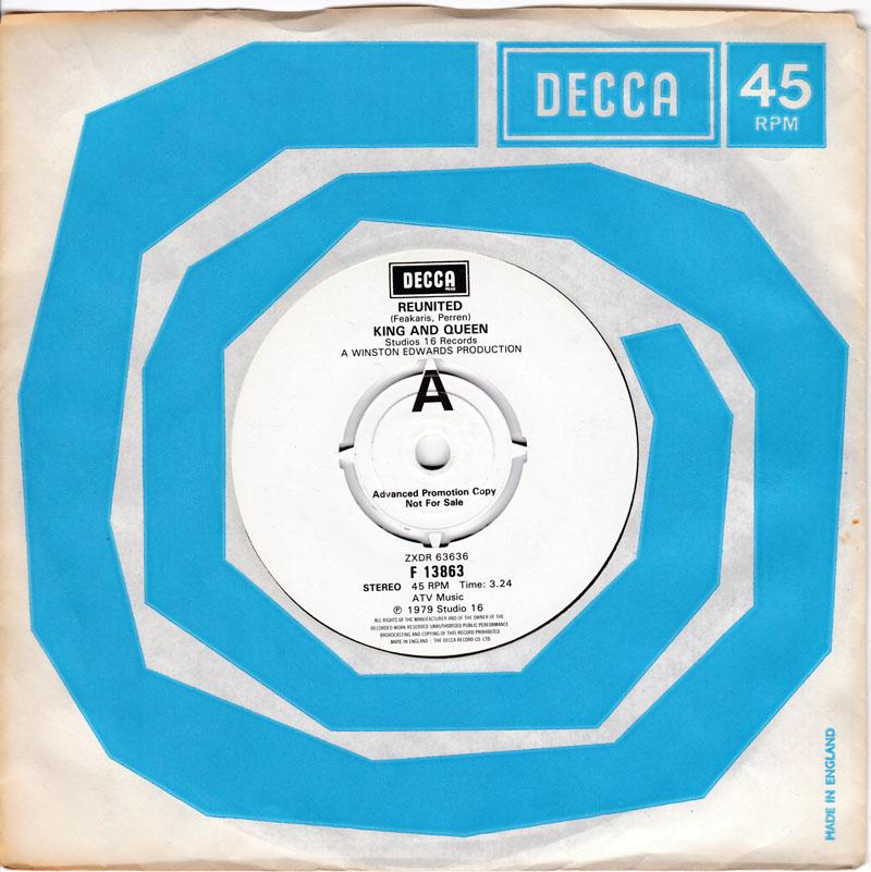 King and Queen - Reunited / Reunited dub - Decca F 13863 DJ