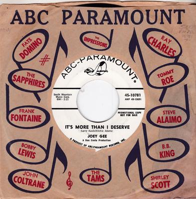 Joey Gee - It's More Than I Deserve / Don't Blow Your Cool - ABC 10781 DJ
