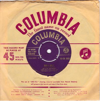 Billy Anthony - Rock-A-Billy / ( If I Had ) A Needle And Thread - Columbia DB 3935 gold
