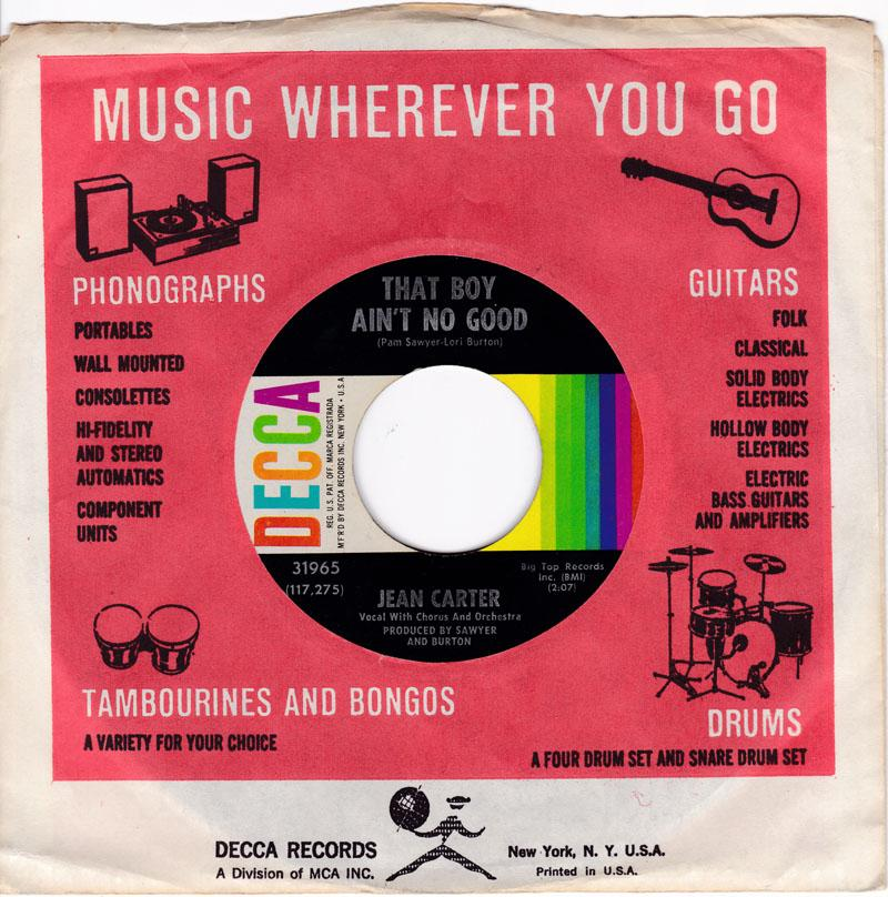 Jean Carter - Like One / That Boy Ain't No Good - Decca 31965