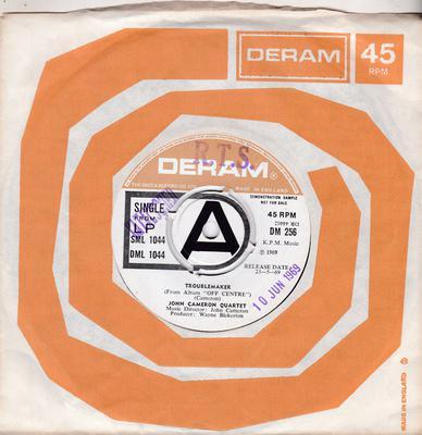 John Cameron Quartet - Troublemaker / Off Centre (instrumental)  - Deram DM 256 DJ