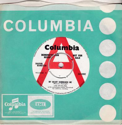Lee Stirling - Welcome Stranger / My Heart Commands me - Columbia DB 4992 DJ