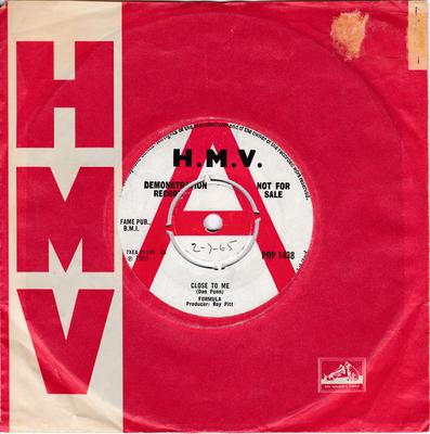 Formula - Close To Me /If Ever - H.M.V. POP 1438 DJ
