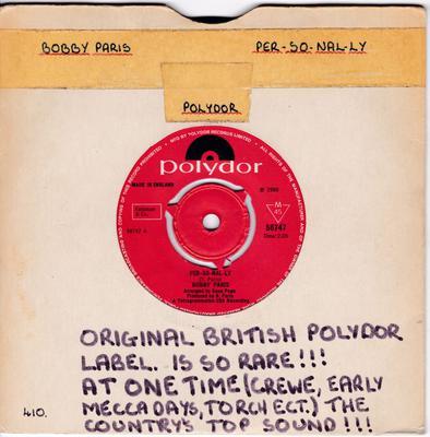 Bobby Paris - Per-so-nal-ly / Tragedy - Polydor 56747