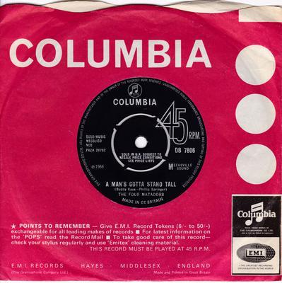 Four Matadors - A Man's Gotta Stand Still / Fast Cars And Money - Columbia DB 7806