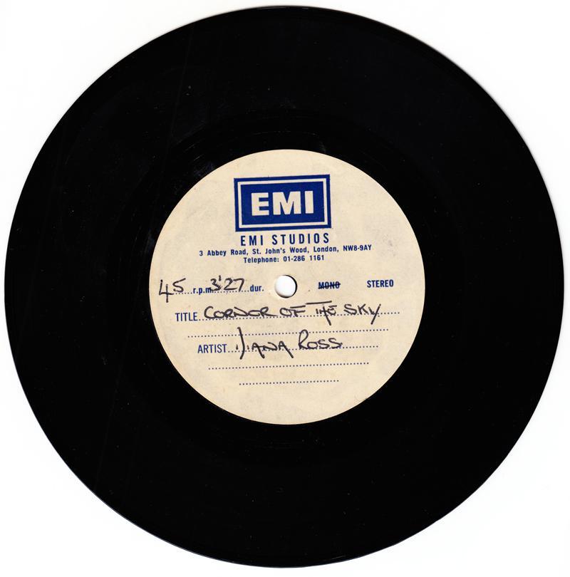 Diana Ross - Corner Of The Sky / blank: - EMI Studios acetate