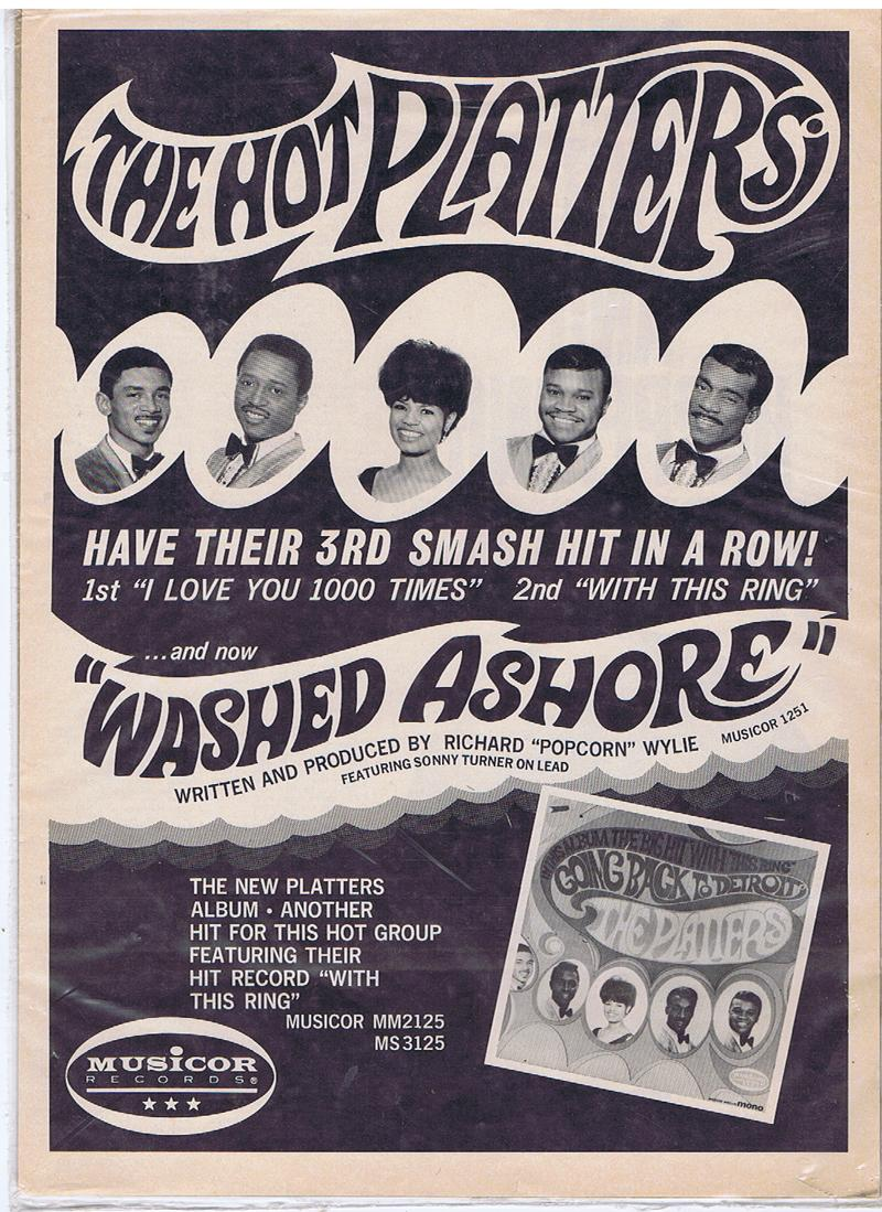Platters - Washed Ashore (On A Lonely Island In The Sea) / 17th. June 1967 promo poster - Musicor MU 1251 14