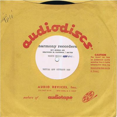 Little Anthony - Better Off Without You / blank - Harmony Recorders acetate