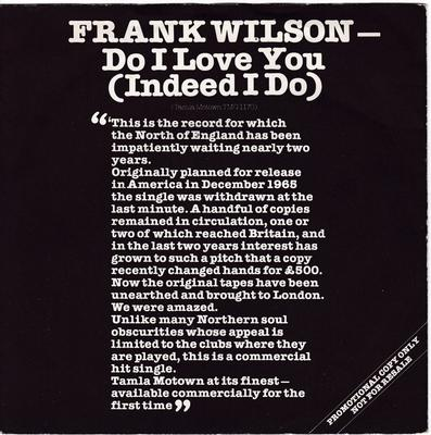 Frank Wilson - Do I Love You ( Indeed I Do ) / Sweeter As The Days Go By - Tamla Motown TMG 1170 PS DJ