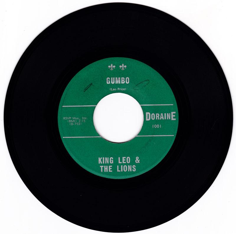 King Leo & The Lions - Gumbo / Daddy's Gone Again - Doraine 1001