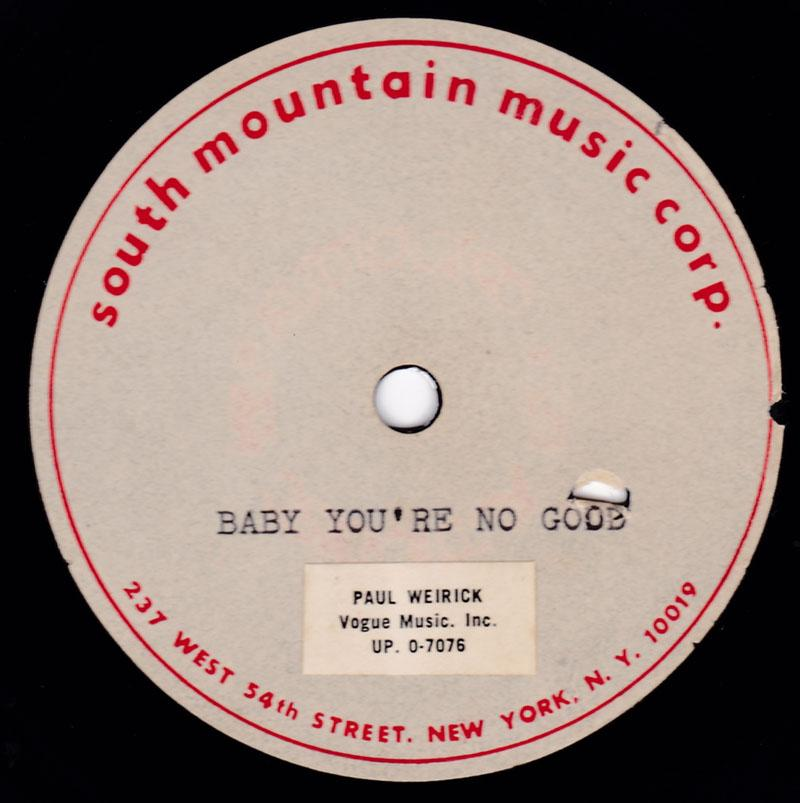 Unknown Girl Group - Baby You're No Good / blank - South Mountain Music 10