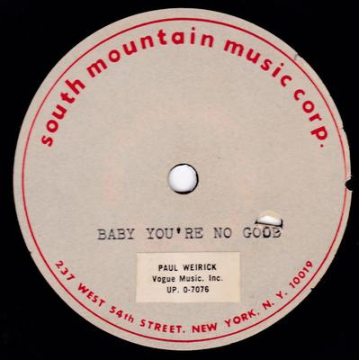 "Unknown Girl Group - Baby You're No Good / blank - South Mountain Music 10"" acetate"
