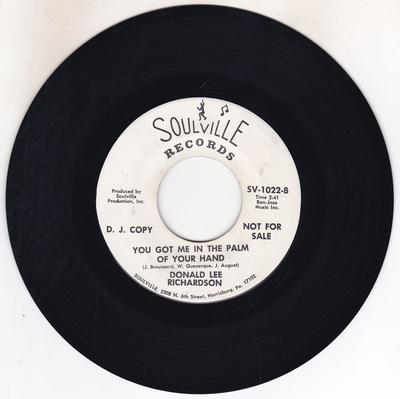 Donald Lee Richardson - You Got Me In The Palm Of Your Hand / I've Learned My Lesson - Soulville SV 1002 DJ