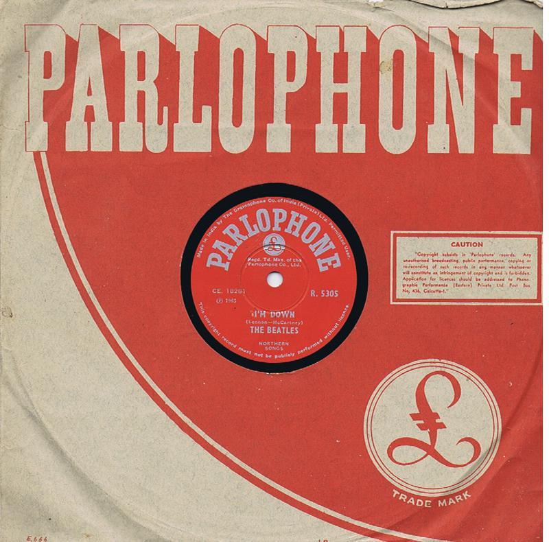 Beatles - Help! / I'm Down - India Parlophone R 5305 78 rpm