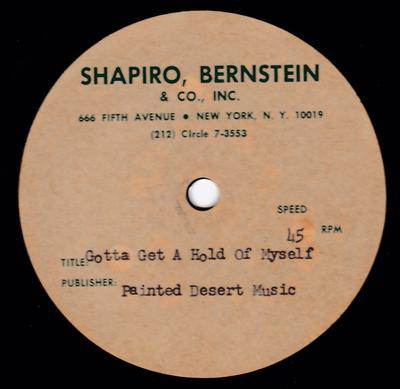 "Kenny Sheppard - Gotta Get a Hold Of Myself / blank - Shapiro Berstein 10"" acetate"