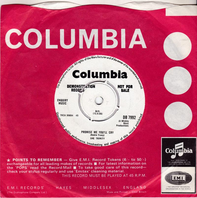 She Trinity - Promise Me You'll Cry / Yellow Submarine - Columbia DB 7992 SJ
