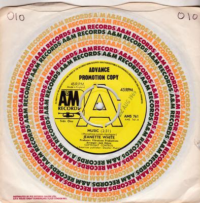 Jeanette White - Music / No Sunshine - A&M AMS 761 DJ