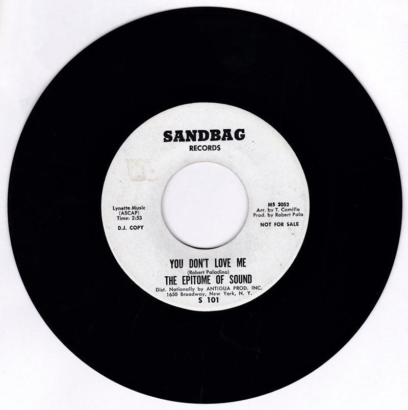 Epitome Of Sound - You Don't Love Me / Where Were You - Sandbag S 101 DJ