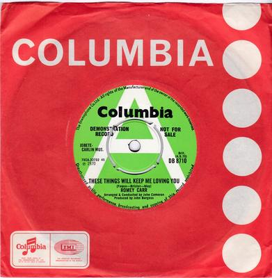 Romey Carr - These Things Will Keep Me Loving You / Stand Up and Fight - Columbia DB 8710 DJ
