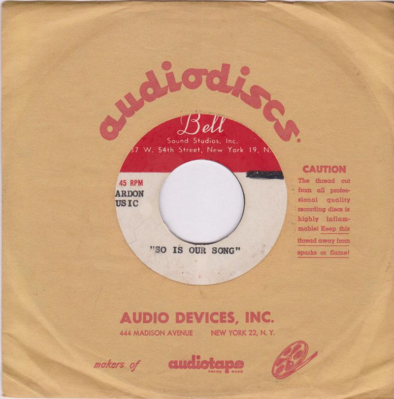Billy And The Essentials  - This Is Our Song / blank - Bell Sound acetate